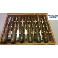 Quality Wood Carving Chisels,set of 12, Walnut Handles, Brass Ferrules PAC10